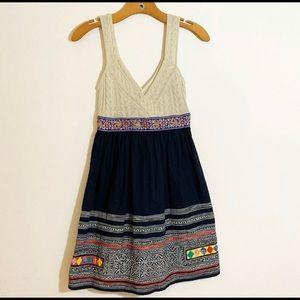 Free People Cable Knit Bust Aztec Print Dress SZ 0